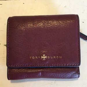 Tory Burch Dark Red Burgundy Tri-Fold Wallet